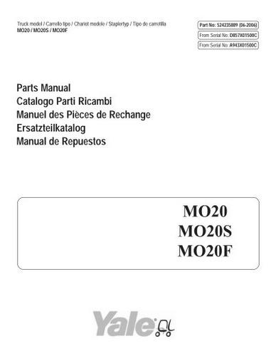 Manual Peca Empilhadeira Yale Mo20f Serie A943  Pg264