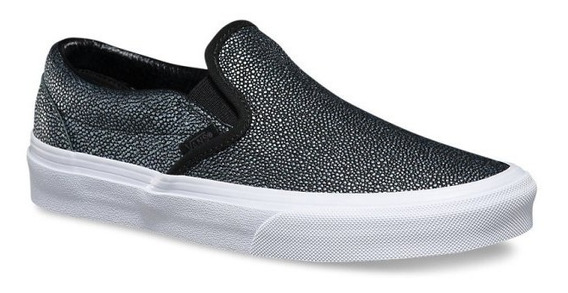 Zapatillas Vans Slip On Negro Plateado Exclusiva Dama