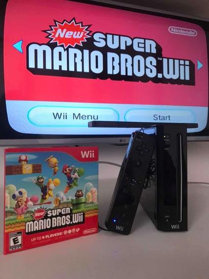 Nintendo Wii Preto Com New Super Mario Bros Gamecube Entrada