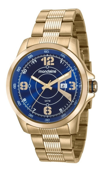 Relógio Masculino Dourado Luxo Mondaine Original 99335gpmvds