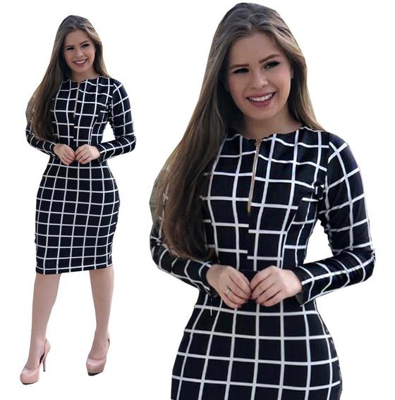 Vestido Midi Neoprene Preto - Moda Evangélica