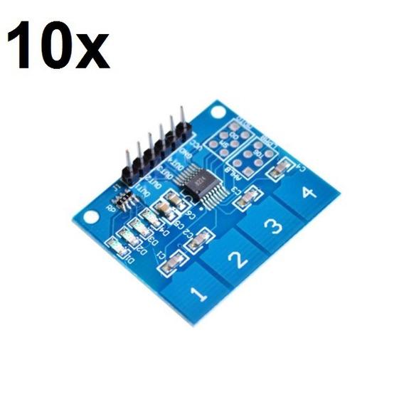 10x Teclado Módulo Sensor Touch Capacitivo 4 Vias Ttp224