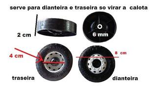 Rodas 8cm De Plastico 12 Unidade/caminhão/carreta Miniatura