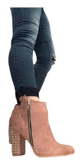 Botinetas Taco Palo Tachas Mujer De Calzadosoher