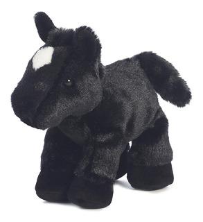 Caballo De Peluche 22cm Color Negro Lucero En La Frente