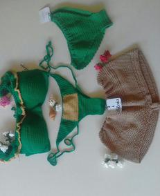 Biquíni De Crochet Verde + Short Saída De Praia