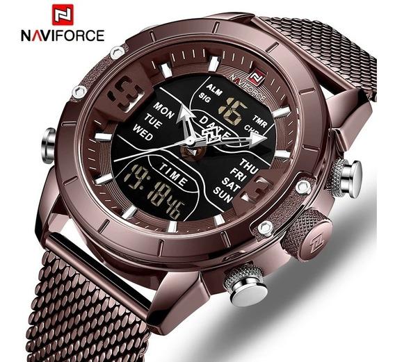 Relógio Naviforce 9153 Original Luxo Multifuncional Aço Inox