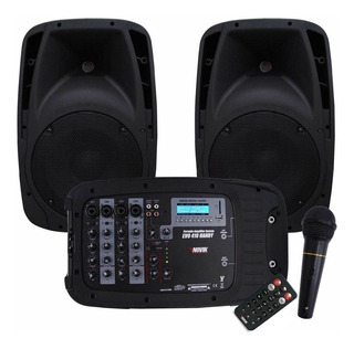 Combo Consola Novik 4 Canales Sd Usb Bluetooth + 2 Bafle 10 Evo-410