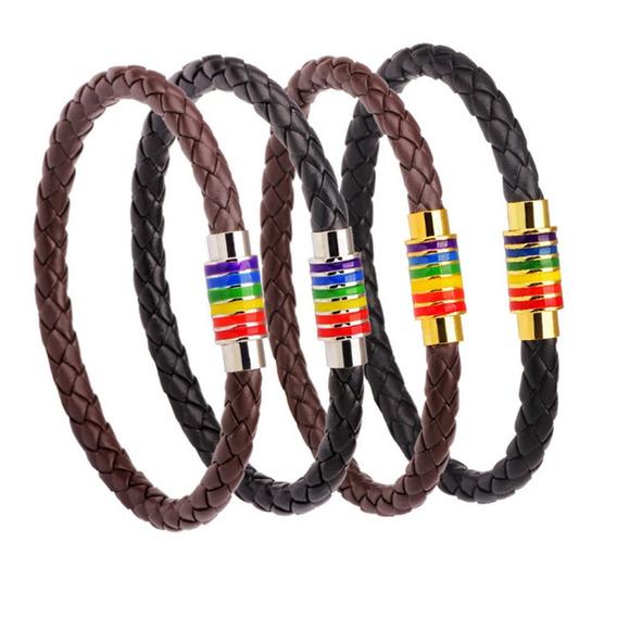 Arco-íris Colorido Woven Couro Pulseira Aço Magnético Fecho