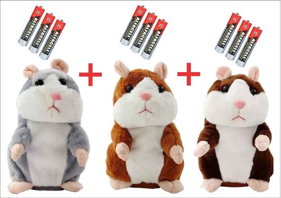 Kit 3 Hamster Falante Repete Tudo Que Criança Fala Presente