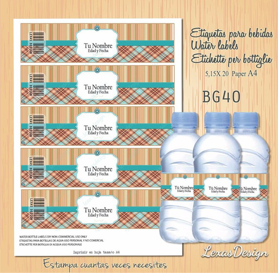 Etiquetas Botellas Bebidas Turquesa Candy Bar, Pdf Bg40