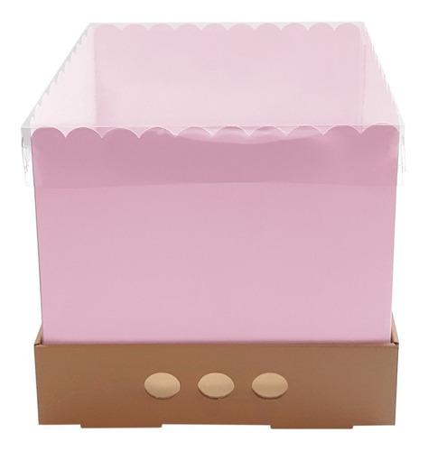 Caja Torta Alta Rosa 25x25x25 Tapa Transparente X10