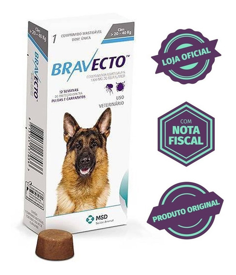 Bravecto Original Para Cães De 20 A 40kg