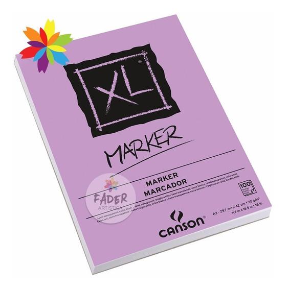 Block Canson Xl Marker Tamaño A3 70 Gramos 100 Hojas