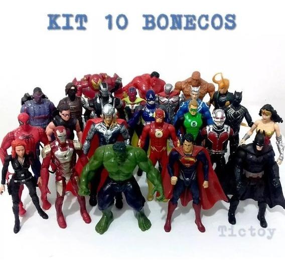 Kit 10 Bonecos Marvel / Dc / Vingadores / Liga Da Justiça