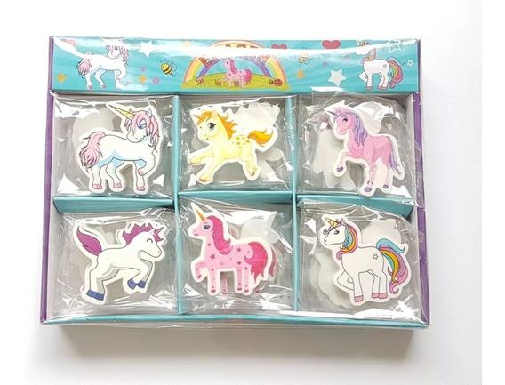 Set 6 Gomas De Borrar Unicornio Souvenirs Bolsita Cumpleaños