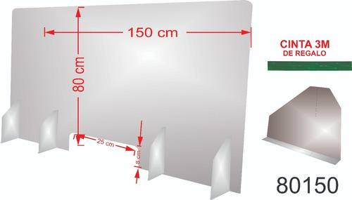 Protector Sanitario Mostrador Escritorio 150 X 80 Cm 3mm