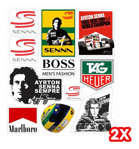 Adesivos Ayrton Senna 2 Cartelas