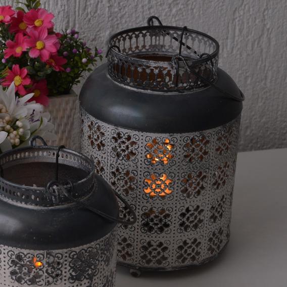 Jogo 2 Lanternas Marroquinas Cinza Vazado Pintura Vintage