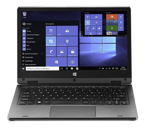 Notebook Multilaser 2 Em 1 M11w Plus Intel Celeron 2gb Cinza