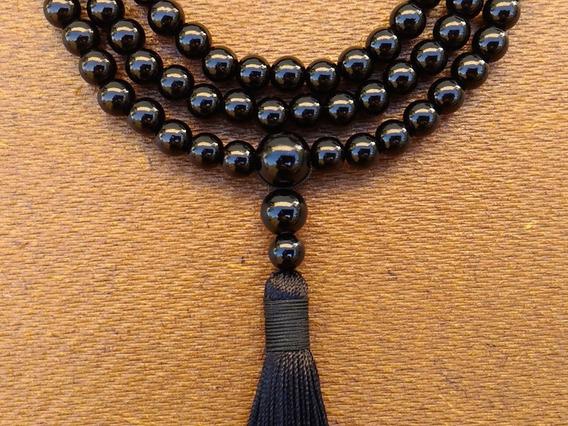 Japamala Negra Com Tassel E 108 Pérolas Abs De 8mm