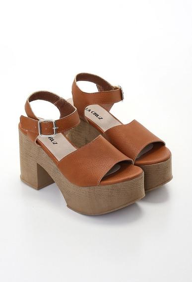 Sandalias Con Plataforma / Faja Ancha / De La Cruz