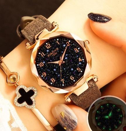 Relógios De Pulso Feminino Céu Estrelado Quartzo Cinza