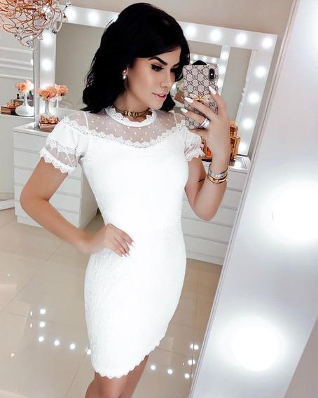 Vestido Branco Off White Tubinho Noivado Casamento Civil