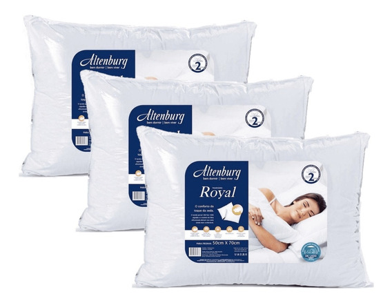 Kit 3 Travesseiros Firme Altenburg Royal Branco 180 Fios