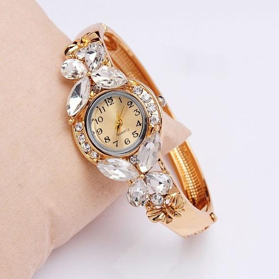 Relógio Feminino De Pulso Dourado Barato Pedra Promoção Luxo