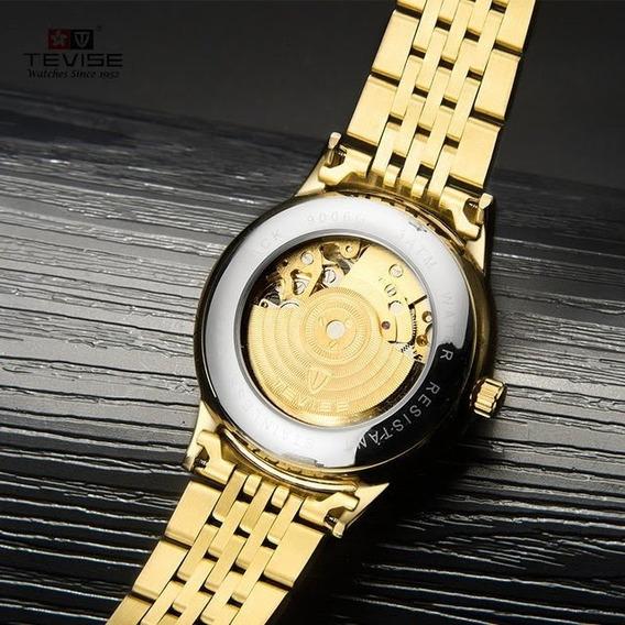 Relógio Masculino Dourado, Luxo, Tevise