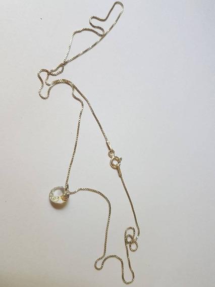 Corrente Prata 925 E Pingente Zirconia Ponto De Luz
