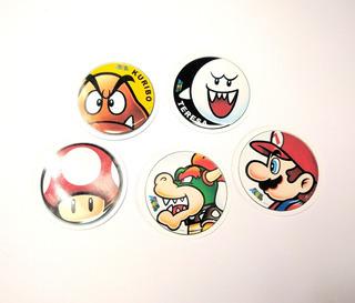Set De 5 Stickers Circulares De Super Mario