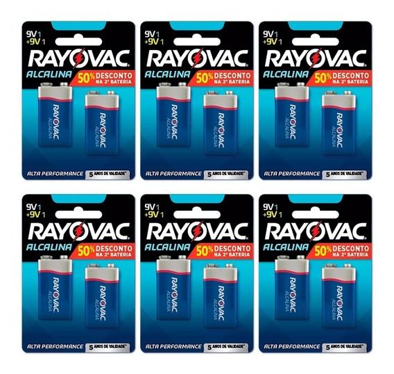 Bateria Rayovac Alcalina 9v - Kit C/06 Cartelas = 12 Unid