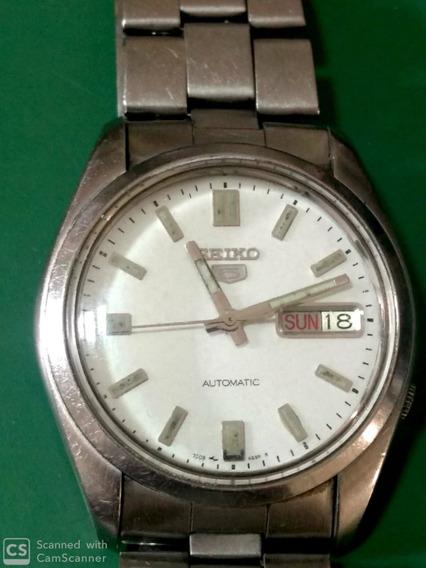 Relógio Seiko 5 Automático Fundo Branco Impecável