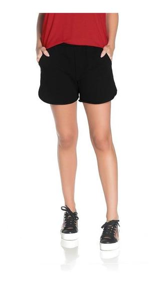 Short Shorts Feminino Em Moletinho Básico Confortável C/ Bolso Elástico P Ao Gg