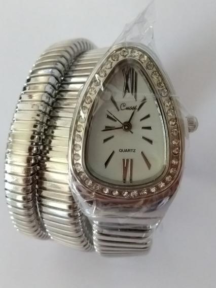Relógio Pulso Feminino Branco Cobra Cussi Sem Caixa Promoção