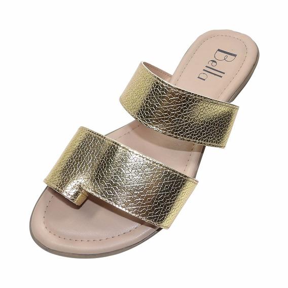 Sandália Rasteira Bella Shoes Ouro