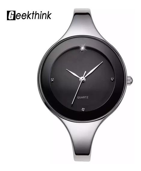 Relógio Bracelete Aço Inox Feminino Preto Quartzo