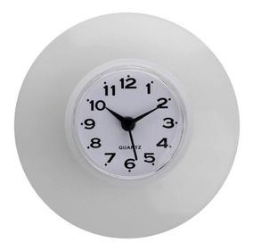 Relógio De Parede Prova De Água Banheiro Cozinha Com Ventosa
