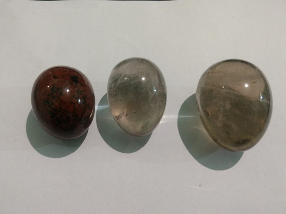 Ovos De Cristal: Obsidiana Mahogany, Fumê E Citrino Kit 06
