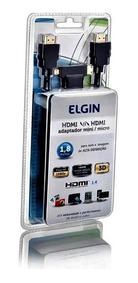Cabo Hdmi Elgin + Adaptador Mini Hdmi E Micro Hdmi