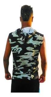 Camisa Masculina Machão Regata Camuflada Ziper Bolso Canguru