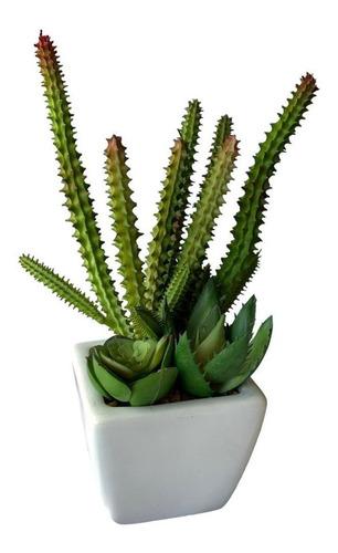 Imagem 1 de 9 de Plantas Artificiais Em Vaso De Cerâmica Cactos E Suculentas