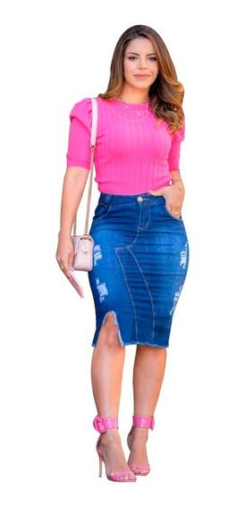 Saia Jeans Feminina- Moda Evangélica Com Estilo.