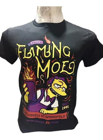 Remera Llamarada Moe The Simpsons Calidad Premium