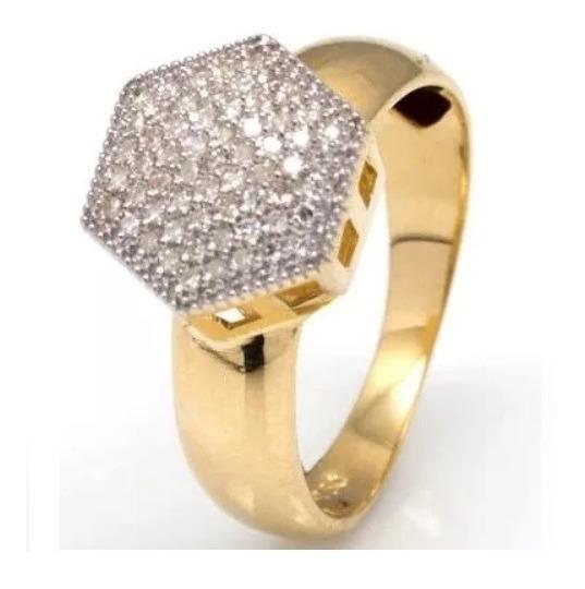 Chuveiro Hexágono Com 61 Diamantes Em Ouro 18 Quilate O13