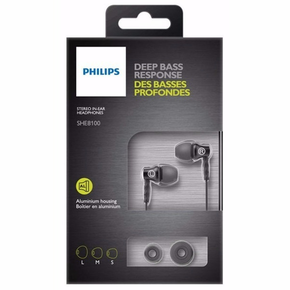 Fone De Ouvido Philips She8100 Alumínio Plugue Plug 3,5mm P2