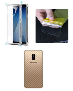 Capa Ant Imp + Película Gel + Skin Galaxy A8 + Plus Tela 6.0