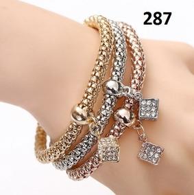 Pulseira Bracelete Feminino Dados 3 Pçs Rose, Prata, Gold